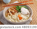 Chicken and udon noodle soup with Shimeji mushroom 48093199