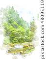 清除當前水彩風格的奧多摩 48095119