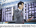A businessman on a business trip abroad to call at the airport 48096743