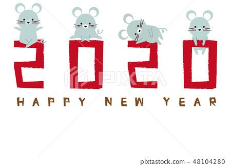 2020年新年賀卡新年賀卡模板紅色 48104280