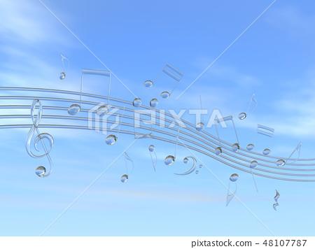 CG 3D 일러스트 디자인 입체 마크 음표 음악 소리 멜로디 하늘 구름 유리 48107787