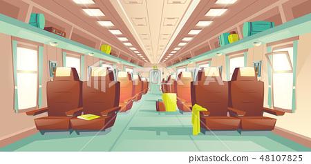 Passenger train wagon interior cartoon vector 48107825