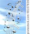 CG 3D 일러스트 디자인 입체 마크 음표 음악 소리 멜로디 하늘 구름 메탈릭 48107836