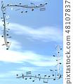 CG 3D 일러스트 디자인 입체 마크 음표 음악 소리 멜로디 하늘 구름 메탈릭 48107837
