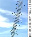 CG 3D 일러스트 디자인 입체 마크 음표 음악 소리 멜로디 하늘 구름 메탈릭 48107838