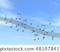 CG 3D 일러스트 디자인 입체 마크 음표 음악 소리 멜로디 하늘 구름 메탈릭 48107841