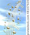 CG 3D 일러스트 디자인 입체 마크 음표 음악 소리 멜로디 하늘 구름 금 골드 48107920