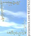 CG 3D 일러스트 디자인 입체 마크 음표 음악 소리 멜로디 하늘 구름 금 골드 48107922