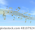 CG 3D 일러스트 디자인 입체 마크 음표 음악 소리 멜로디 하늘 구름 금 골드 48107924