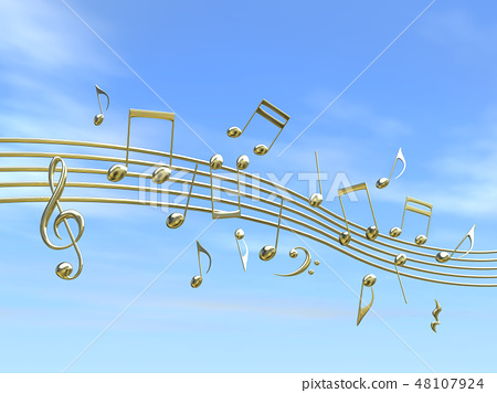 CG 3D illustration design solid mark notes music sound melody sky cloud gold gold 48107924