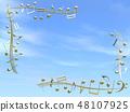 CG 3D 일러스트 디자인 입체 마크 음표 음악 소리 멜로디 하늘 구름 금 골드 48107925
