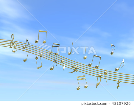 CG 3D 일러스트 디자인 입체 마크 음표 음악 소리 멜로디 하늘 구름 금 골드 48107926