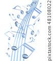 CG 3D 일러스트 디자인 입체 마크 음표 음악 사운드 배경 투명 장식 유리 자르기 48108022