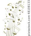 CG 3D 일러스트 디자인 입체 마크 음표 음악 사운드 배경 투명 장식 금 자르기 48108133