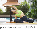 Healthy and Relaxation asian woman practicing yoga 48109535