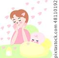 아기와 엄마 봄 벚꽃 48110192