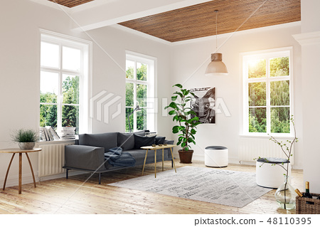 modern scandinavian living room design. - Stock Illustration ...