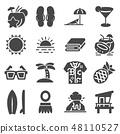 Tropical summer, hawaii icon set 48110527