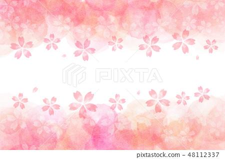 櫻花花春天水彩背景 48112337