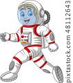 Cartoon astronaut walking isolated on white backgr 48112643