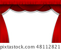 The stage's red dark curtain curtain (sideways) 48112821