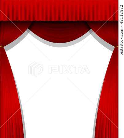 The stage's red dark curtain curtain (vertical) 48112822