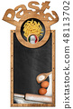 Italian Pasta on a blackboard with copy space 48113702