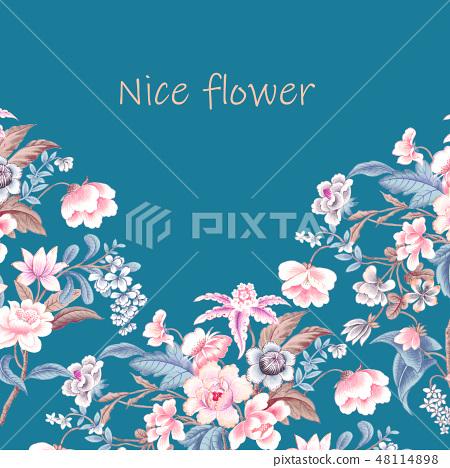 優雅的複古水彩花卉 48114898