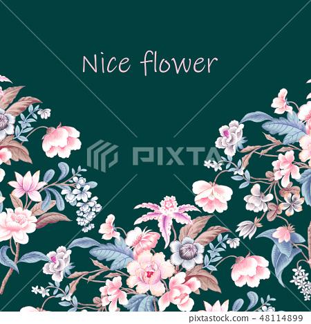 優雅的複古水彩花卉 48114899