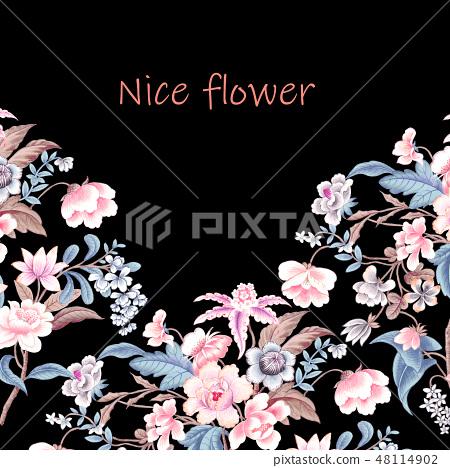 優雅的複古水彩花卉 48114902