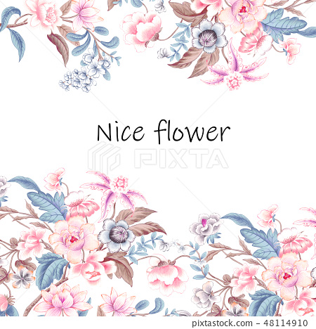 優雅的複古水彩花卉 48114910