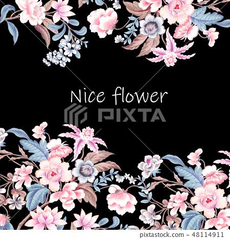 優雅的複古水彩花卉 48114911