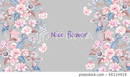 優雅的複古水彩花卉 48114919