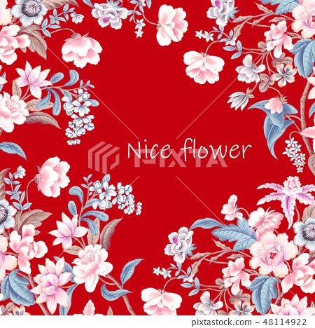 優雅的複古水彩花卉 48114922