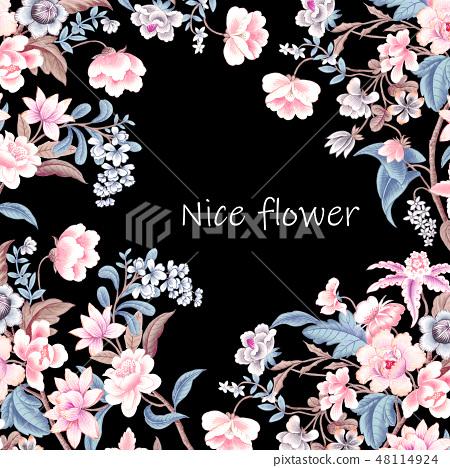 優雅的複古水彩花卉 48114924