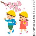 초등학생 통학 벚꽃 48118797