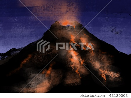 분화하는 화산의 일러스트 48120008