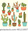 set of plants and plants in pots, cactus icon 48121607