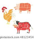 고기가되는 동물의 일러스트 (부위 설명 없음) 48123454