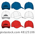 Set of baseball caps, front, back and side view. Vector illustration 48125106