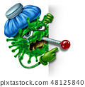 Winter Flu Character Sign 48125840