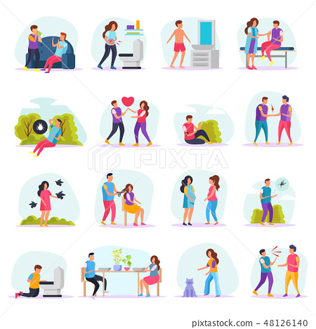 Diseases Transmission Ways Flat Icons 48126140