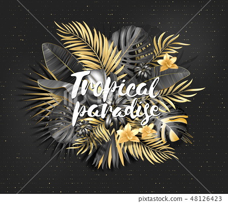 Summer tropical leaf background with exotic palm leaves. Handwriting lettering Tropical paradise 48126423