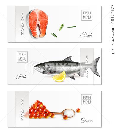 Realistic Salmon Banners Set 48127177