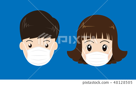 People face wearing a medical mask  48128505