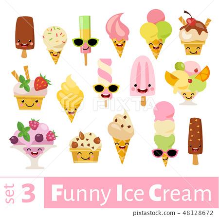 Vector set of funny food emoji icons of ice cream 48128672