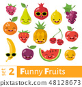 Fruits icons set in flat style with smiling food icons. 48128673