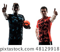 soccer players men isolated silhouette white background 48129918