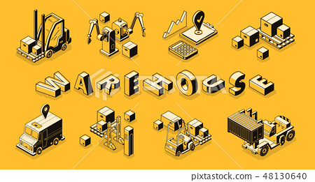 Retail business logistics technologies vector 48130640