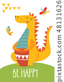 Cute vector be happy card with wild animals 48131626